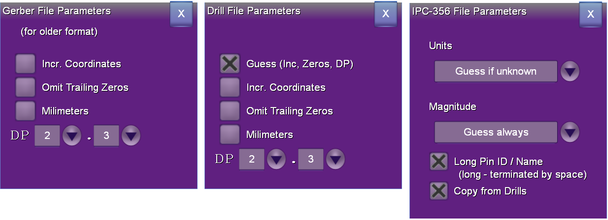 3 file format popup dialogs