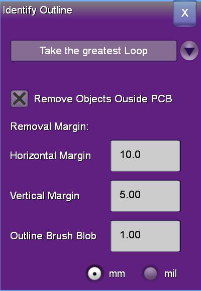 outline identification setup popup dialog