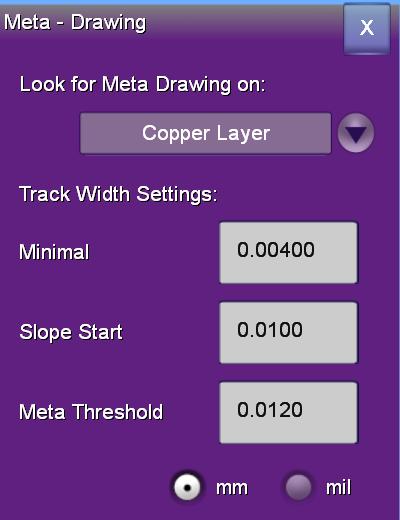 meta drawing setup popup dialog