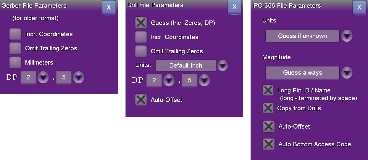 3 file format pop-up dialogs