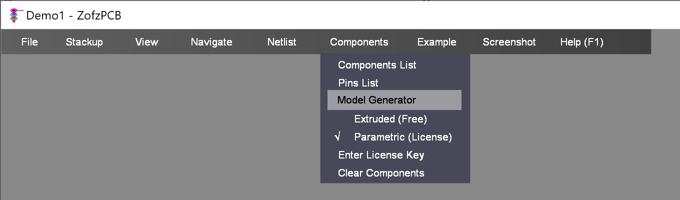 Menu Components Modeler Selection