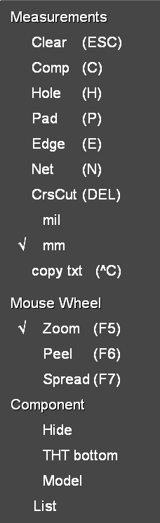 right mouse button click menu