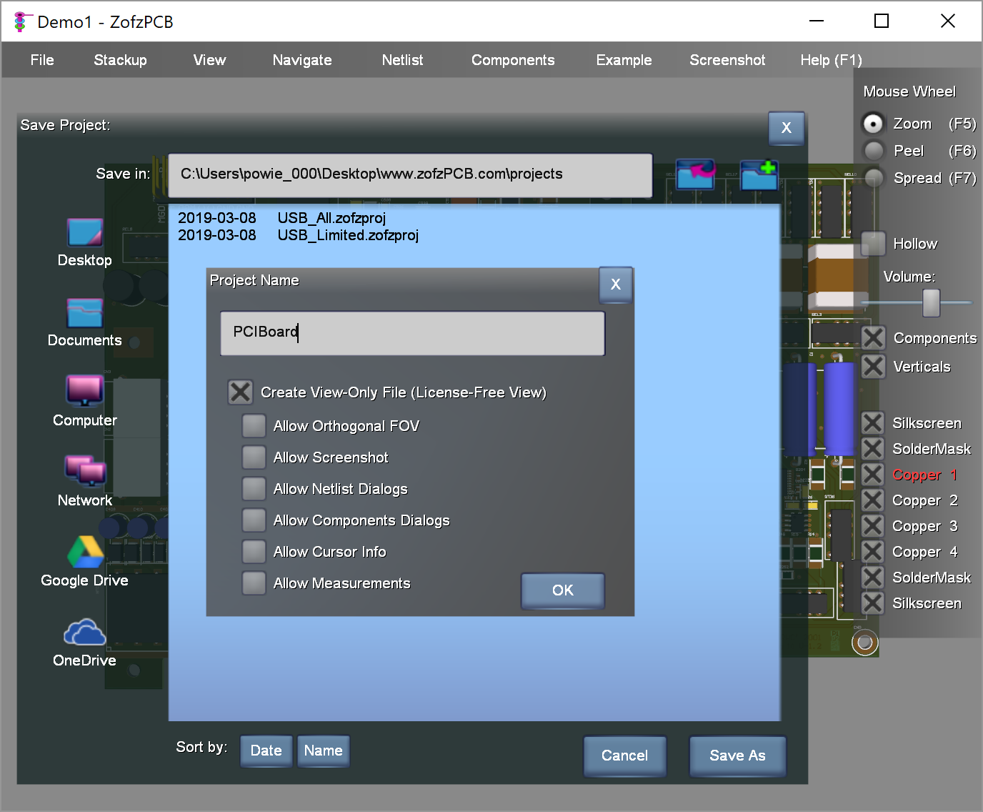 ZofzPCB 3D Gerber Viewer View Only Save Dialog