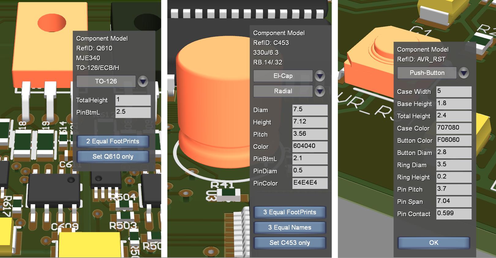Adjusting Components via menu